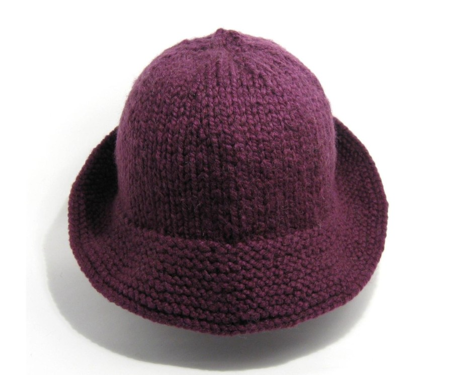 Color Dolls Hat - Hand Knitted with Purple Novelty Yarn