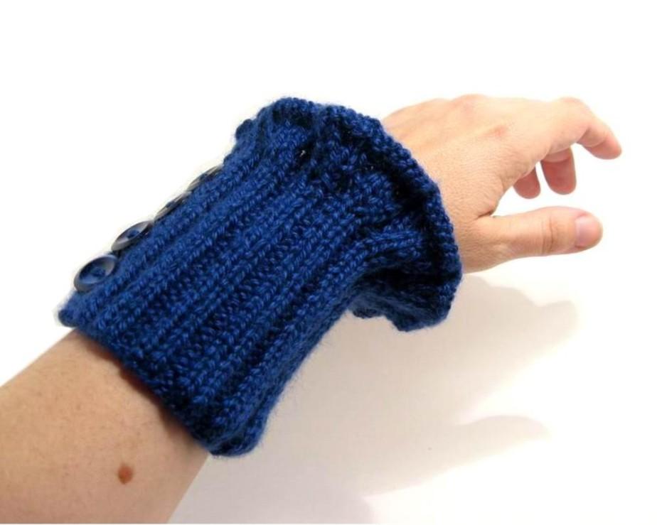Navy Emotion Cuff Cuff - Hand Knitted with Cobalt Blue Merino Wool