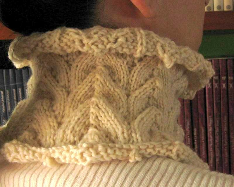 Cowl - Hand Knitted with Ivory Merino Wool