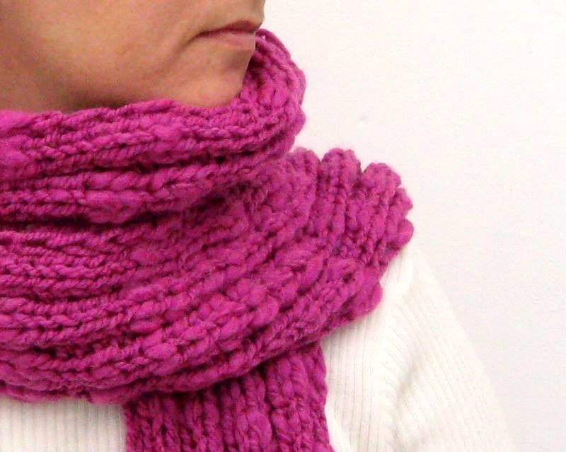 Scarf - Hand Knitted with Red Violet Novelty Yarn