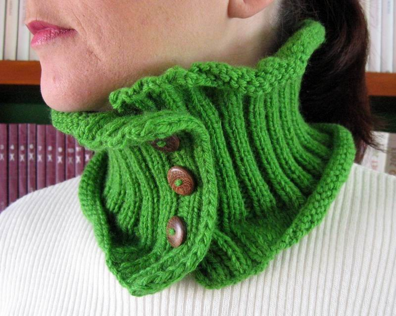 Cowl - Hand Knitted with Forest Green Acrylic Wool