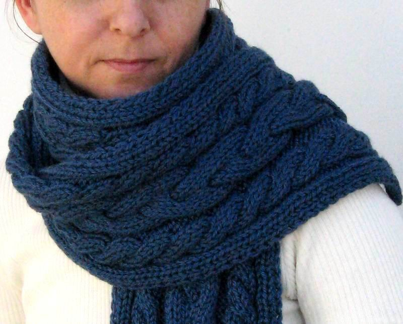 Aran Scarf - Hand Knitted with Blue Merino Wool
