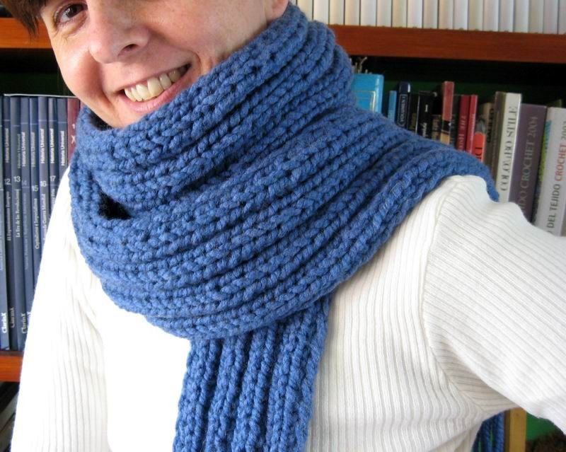 Scarf - Hand Knitted with Blue Novelty Yarn