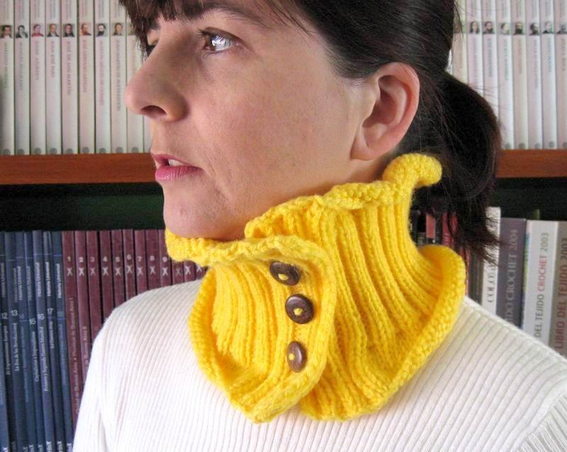 Cowl - Hand Knitted with Yellow Acrylic Wool