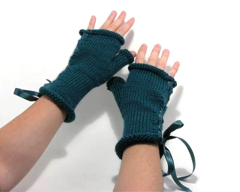 Fingerless Gloves - Hand Knitted with Teal Shetland Wool