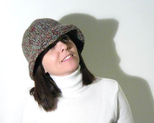 Hat - Hand Knitted with Marled Sky Blue, Red, Beige and Brown Novelty Yarn