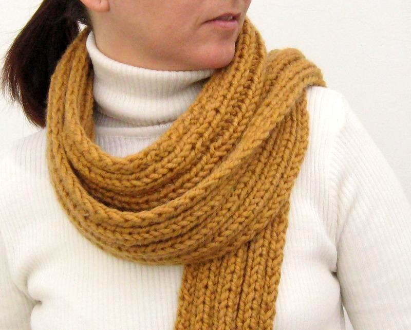 Scarf - Hand Knitted with Ocher Novelty Yarn