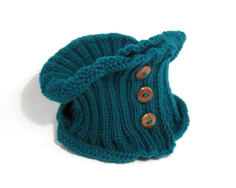 Cowl - Hand Knitted with Teal Green Acrylic Wool