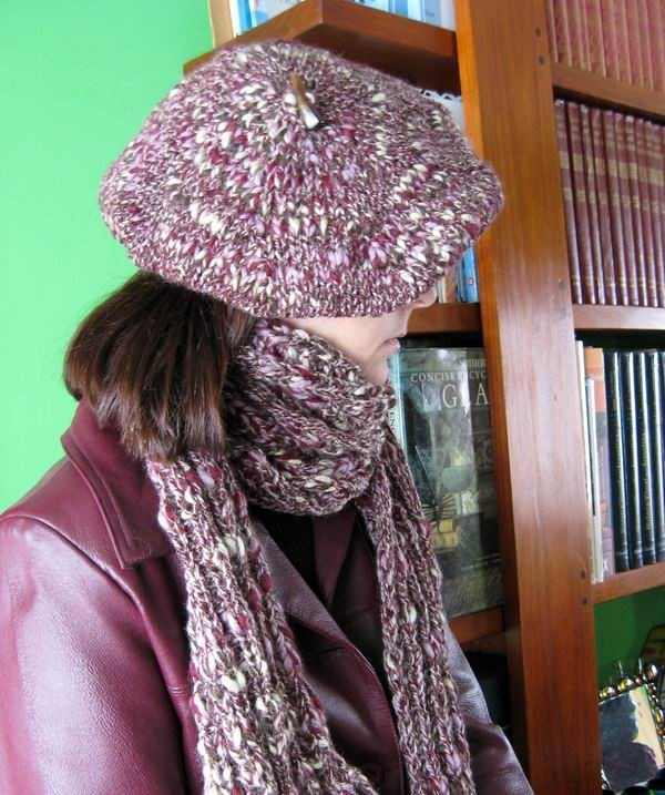 Tam - Hand Knitted with Marled Lavender, Purple, Brown and Beige Novelty Yarn