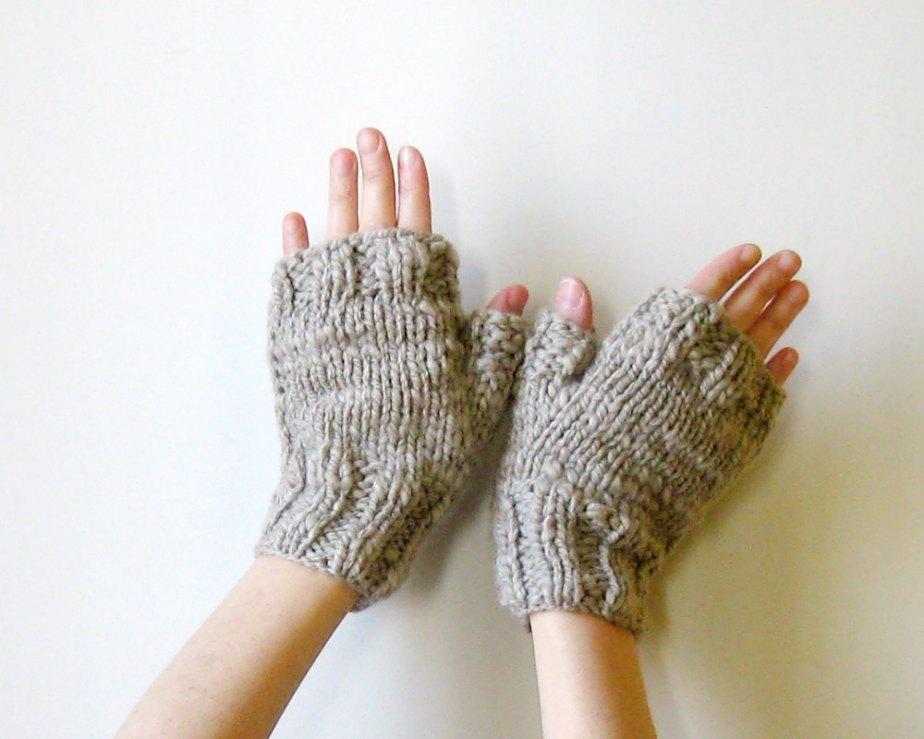 Beige Fingerless Gloves