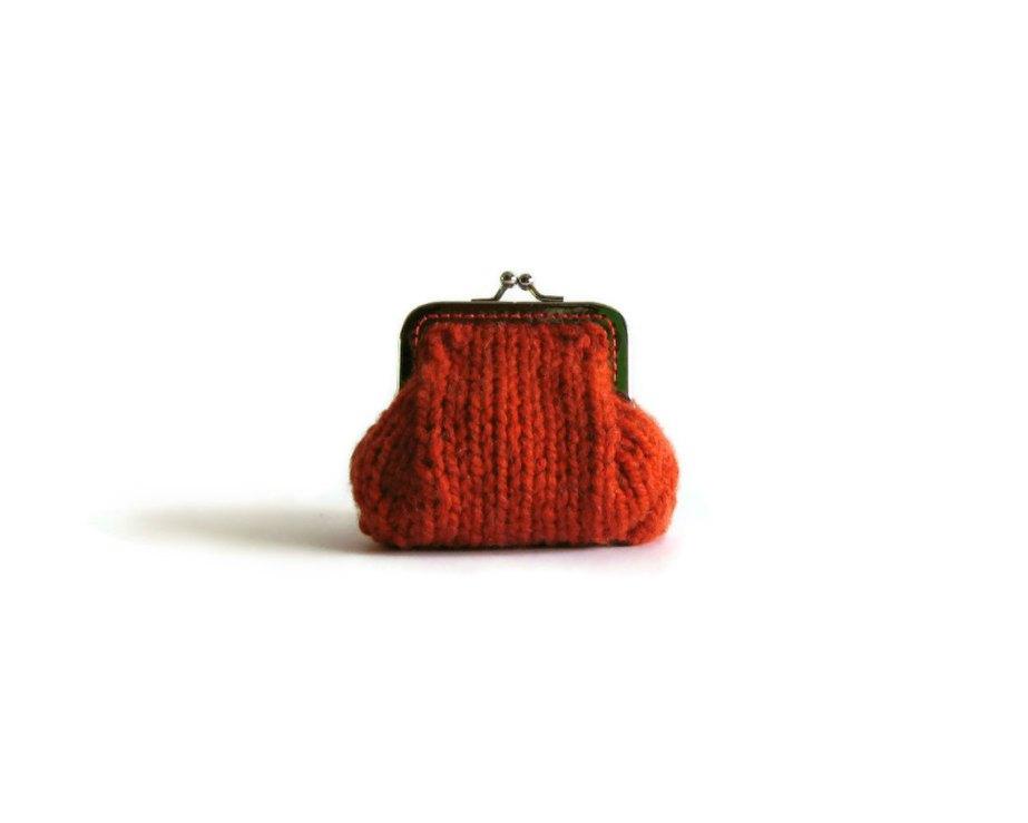 Orange chunky coin purse