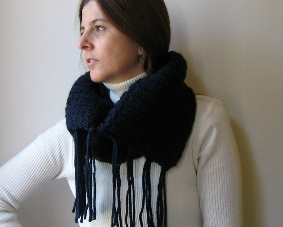 Navy Cowl with Fringes