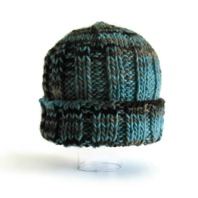 Variegated Blue and Brown Beanie