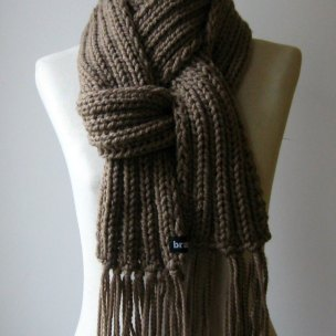 Fisherman Scarf Brown by knitbranda