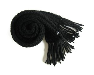 Black Fisherman Scarf by knitbranda