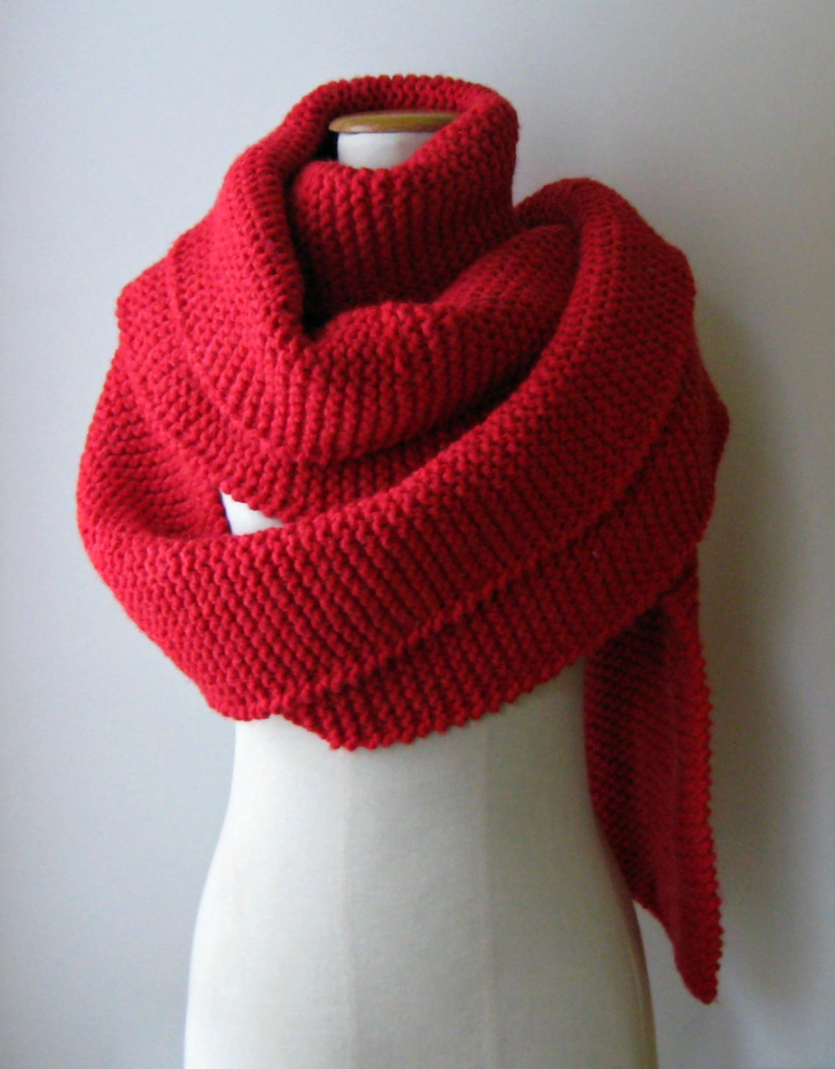 Red oversized scarf by knitBranda