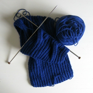 Waves scarf blue in progress by knitbranda