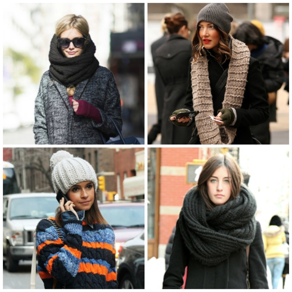 Winter knitted accessories in the streets