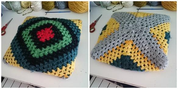 Almohadón con funda al crochet