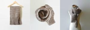 Sweater Scarf Knit in Chunky Ecru Wool Made By Branda