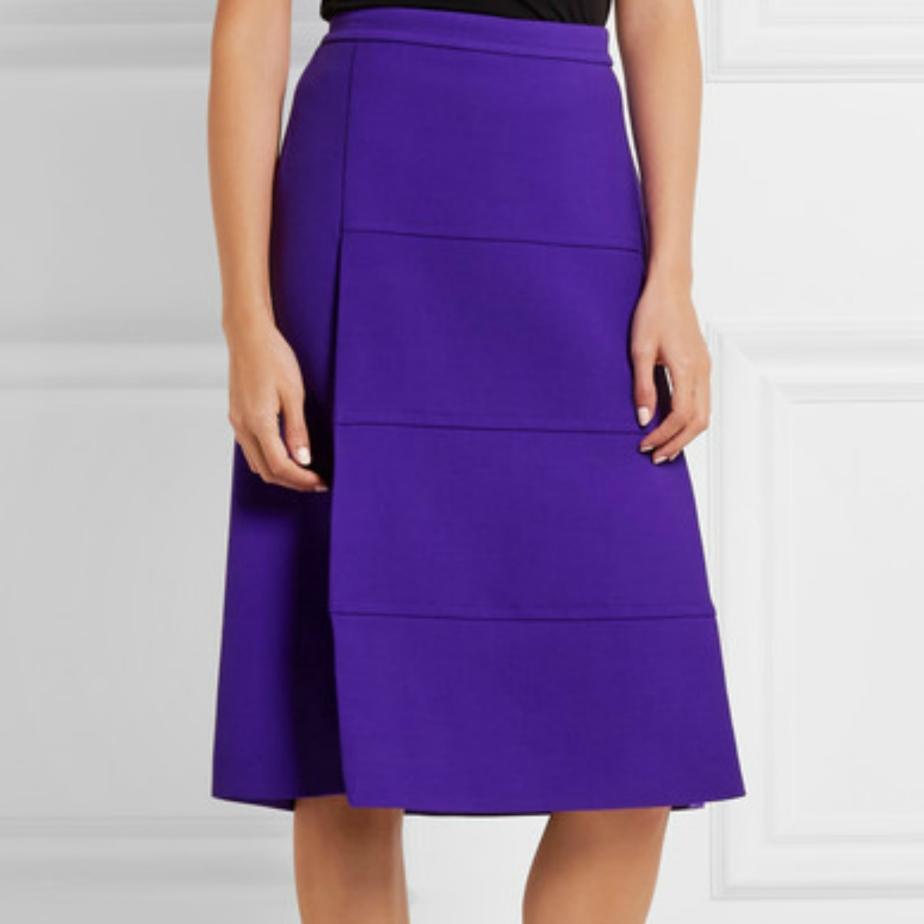 Falda con paneles en crepe de lana - Victoria Beckham