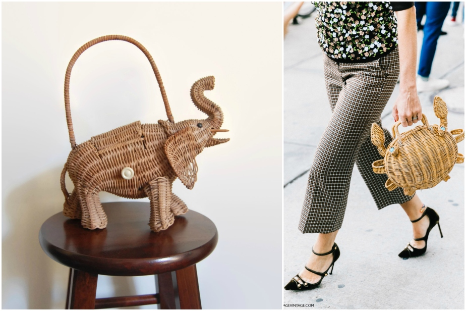 Vintage Wicker Purse - 1950s Figural Elephant - CursonVintage