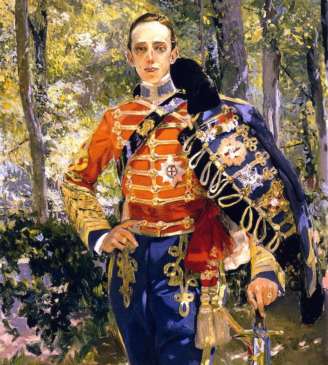 Retrato de Joaquin Sorolla al Rey Don Alfonso XIII con el uniforme de húsares.