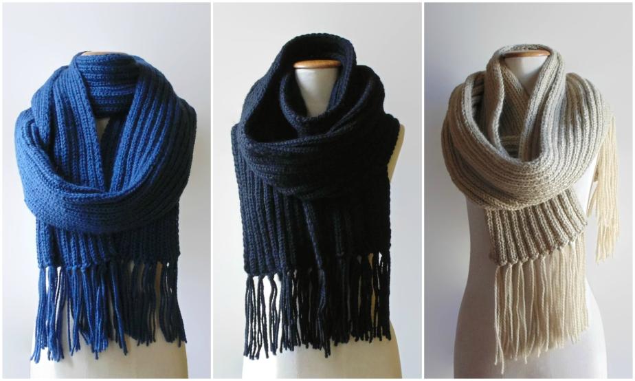 3 nuevas bufandas en lana merino azul, negro y beige