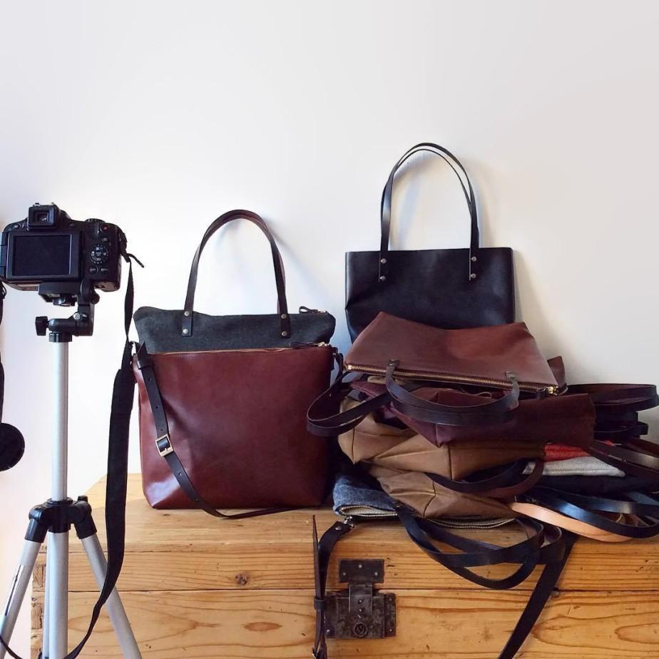 Bolsos de cuero del taller de Mery Bradley