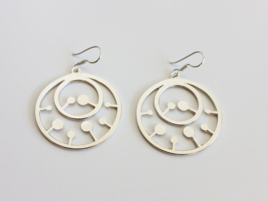 Double Round silver earrings - anluz