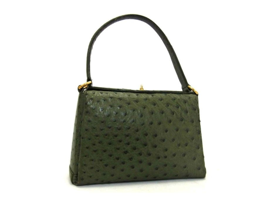 Authentic GUCCI Vintage GREEN Exotic Ostrich Satchel Bag - PurseAngels