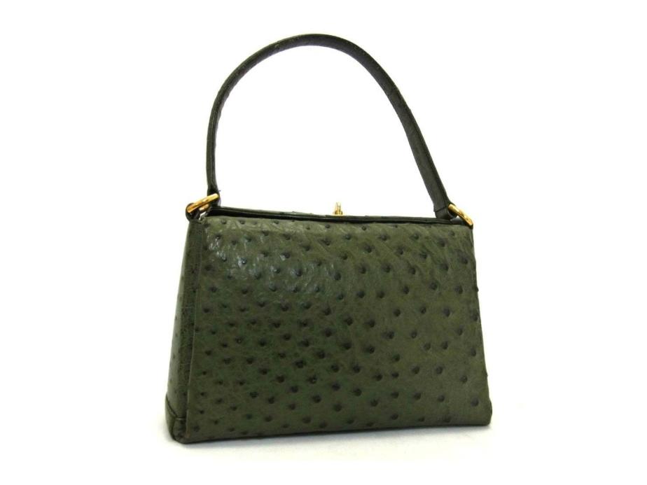 Authentic GUCCI Vintage GREEN Exotic Ostrich Satchel Bag - PurseAngels