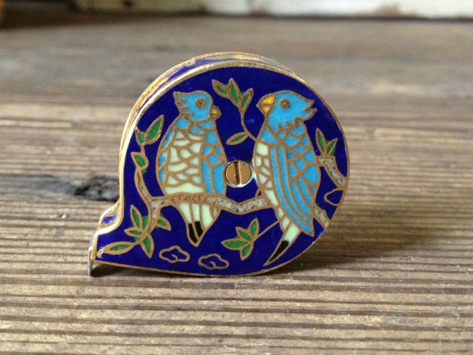 Cloisonné Enamel Brass Sewing Miniature Tape Measure - JansVintageStuff