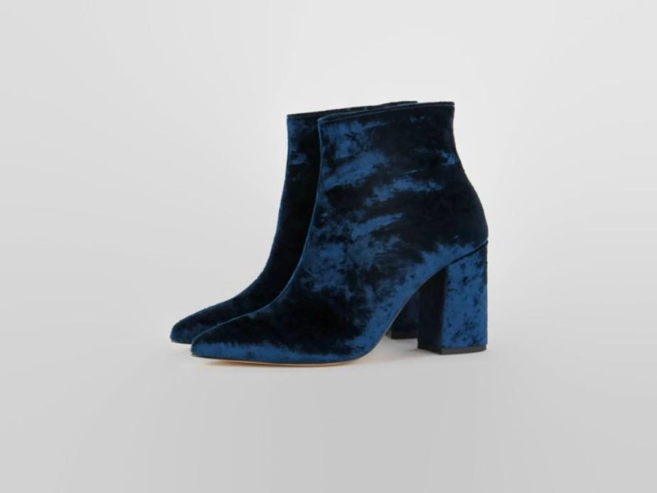 Botinetas de terciopelo azul - Prettysmallshoes
