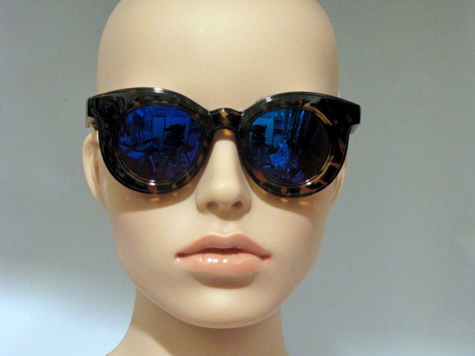 Vintage DEADSTOCK LEOPARD Square Half Moon Frame Blue mirror lenses Sunglasses - FisforFRESH