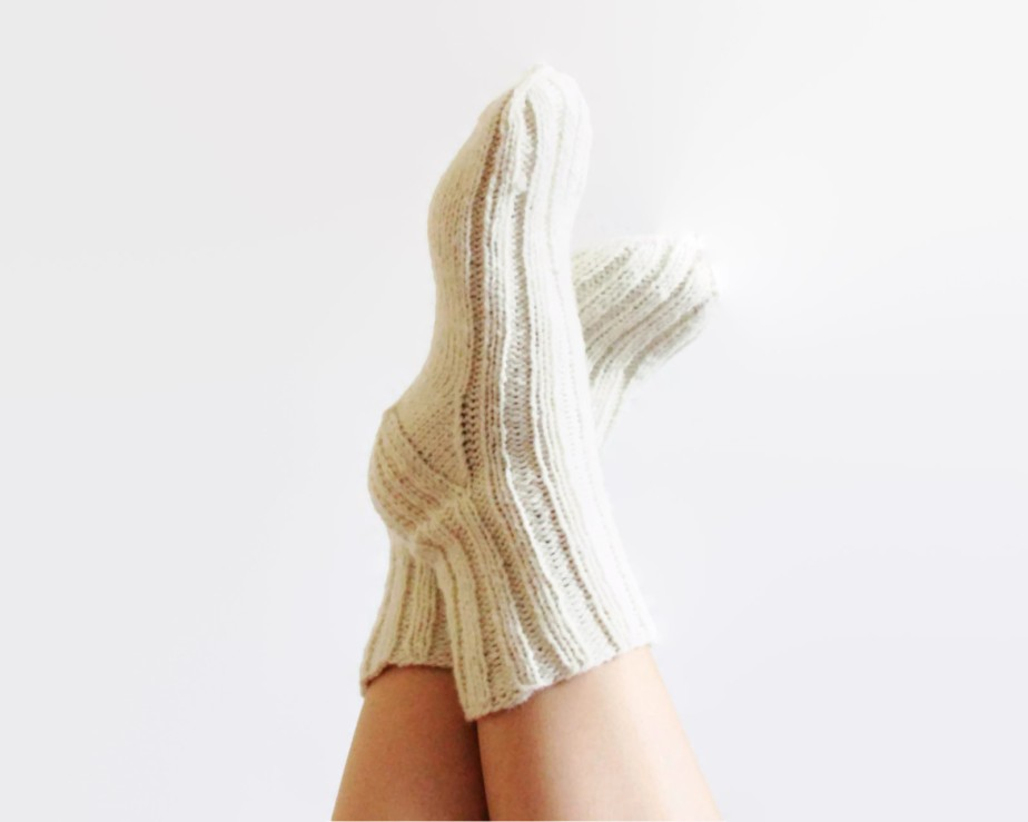 Christmas White wool knitted socks - JolantaKnit