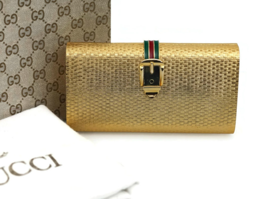 Vintage GUCCI Iconic Enamel Buckle Gold Minaudiere - VintagEnMode
