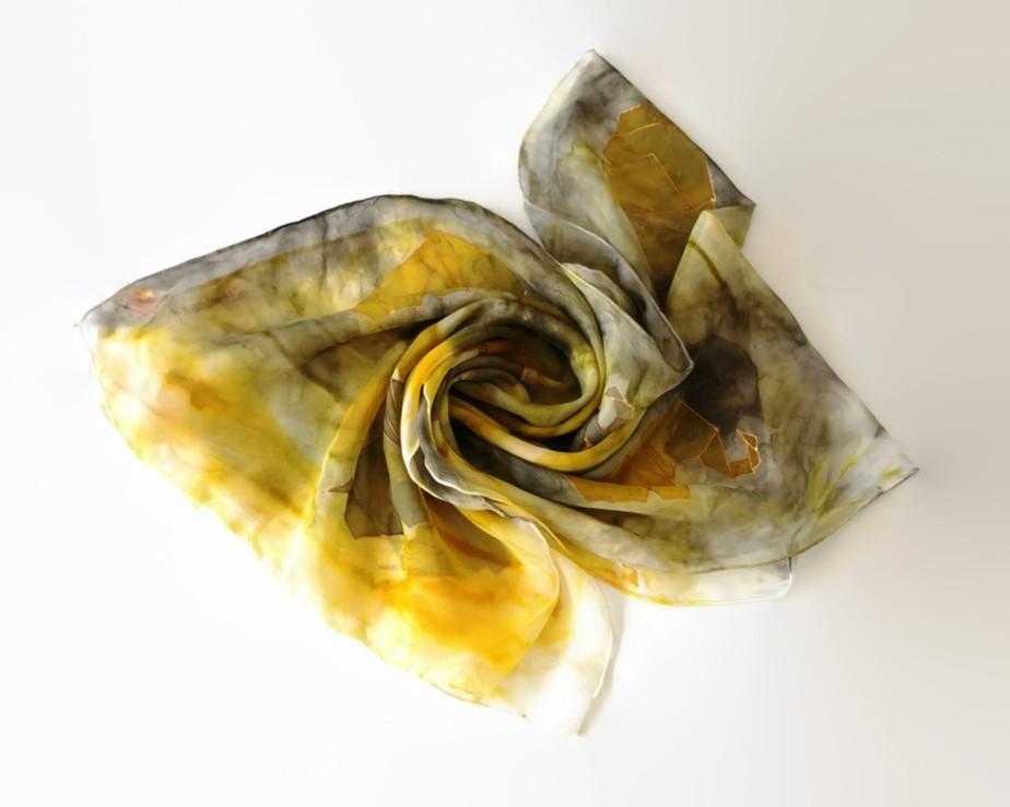 Elegant handpainted silk chiffon scarf - dreammor