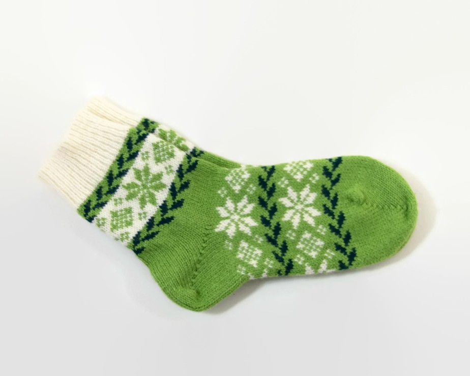 Knitted Wool Socks, Folk Pattern Socks Light Green and White - UnlimitedCraftworks