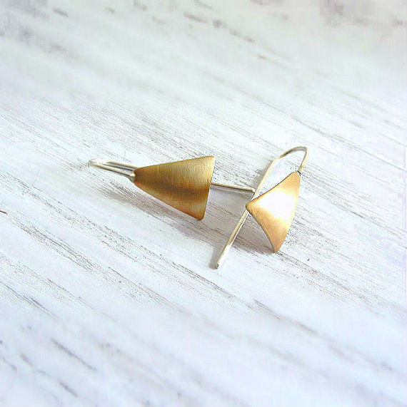 Triangle hoop earrings gold - Lunahoo