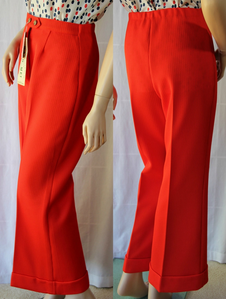 70s Wide Leg Pants Bell Bottoms Orange Deadstock American Scene - PetticoatsPlus