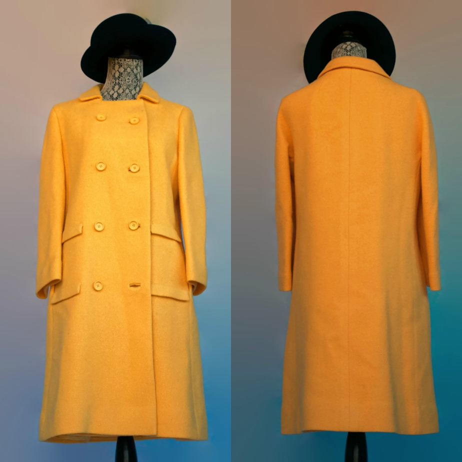Vintage 60s Bergdorf Goodman On The Plaza Yellow Wool Coat. S/M. - Thespiffjunction