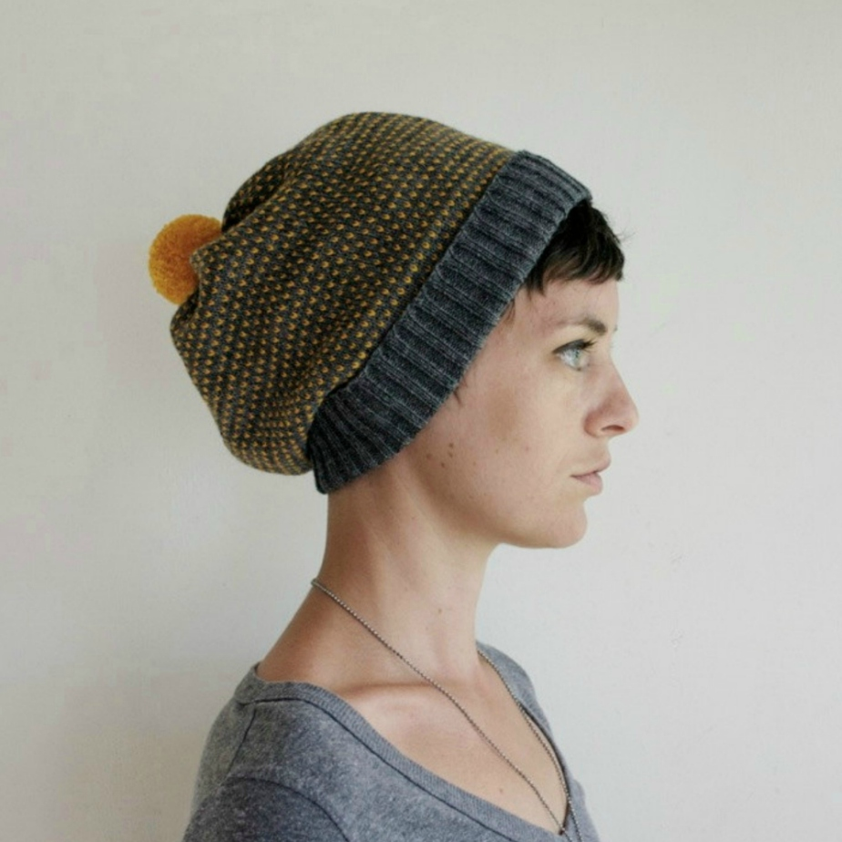 Knit Slouchy Hat Wool Beanie por SourpussKnits