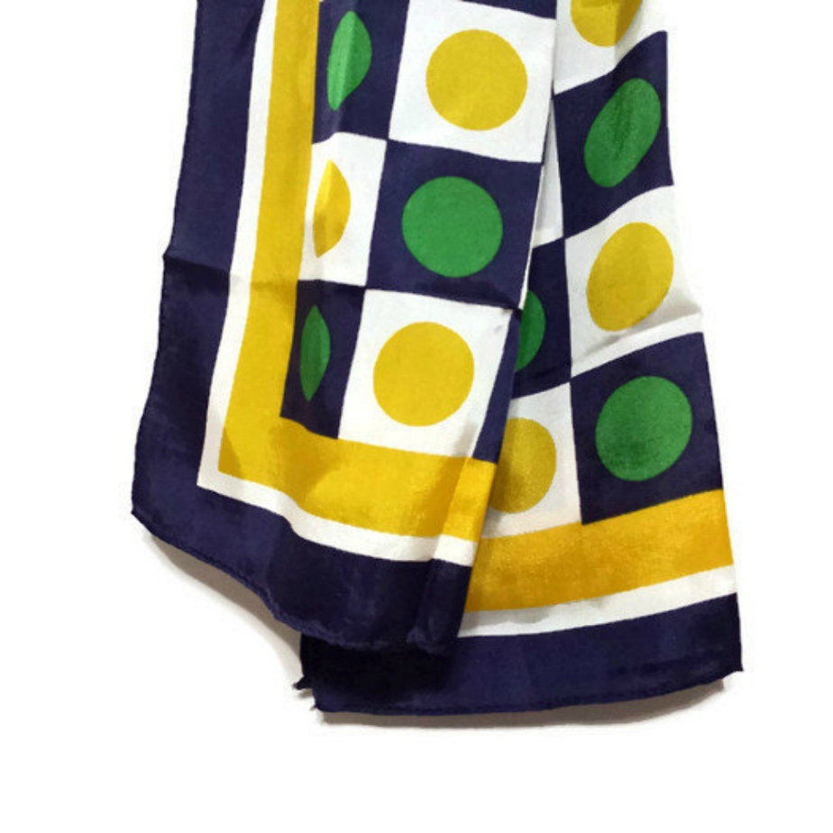 Long Vintage Scarf Green Navy Blue Yellow Polka Dots Squares por AtomicPhenomic