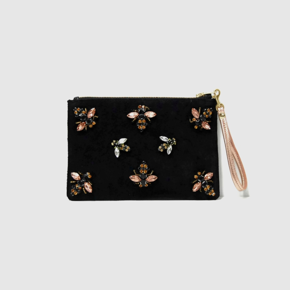 Black suede clutch with bee embellishments de AngelaValentineBags