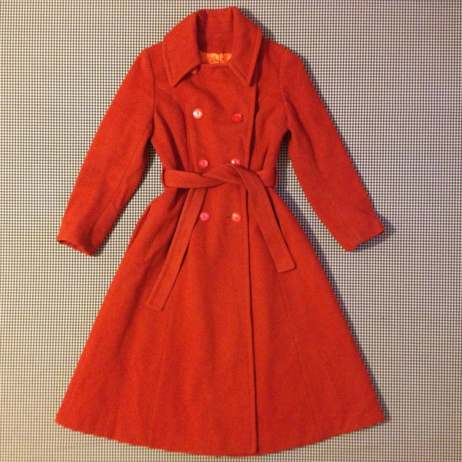 1960's, wool, belted, trenchcoat, in burnt orange, with brialliant orange lining by brinkdwellers