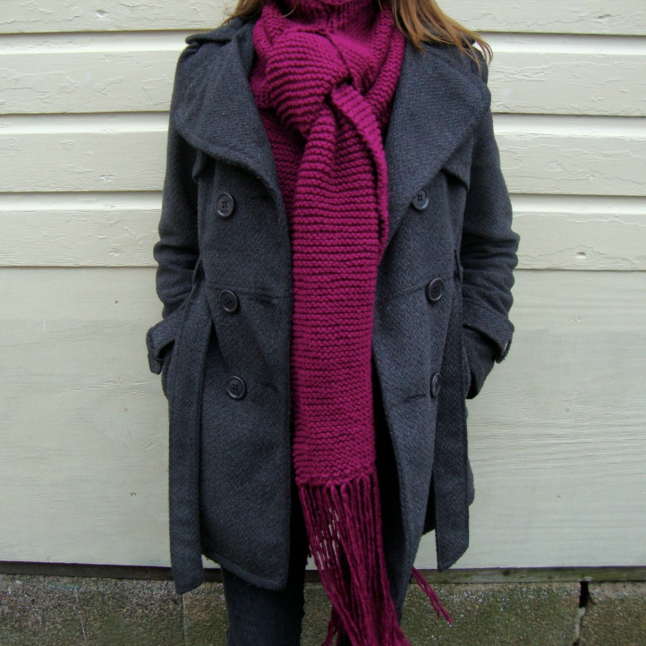 Berry Hand Knit Acrylic Turtleneck Scarf by CozyKnitShop