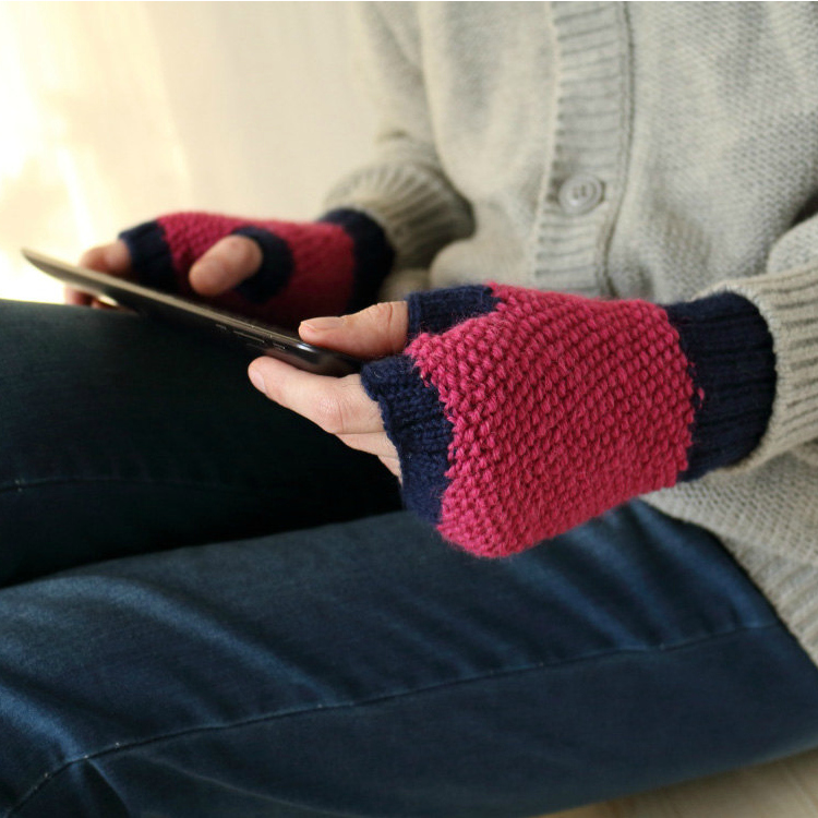 Fingerless Gloves in Magenta & Dark Navy by ElvishThings