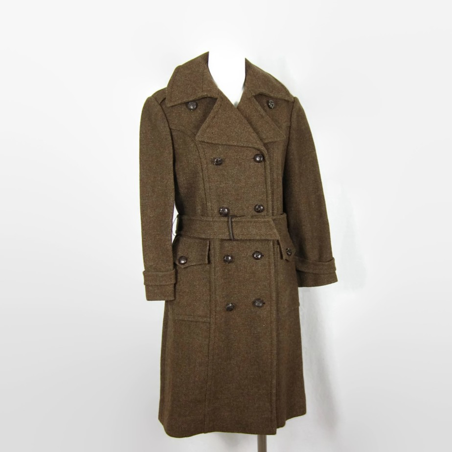 Vintage 1960s Combat Winter Olive Wool Pea Coat by FireflyVintage