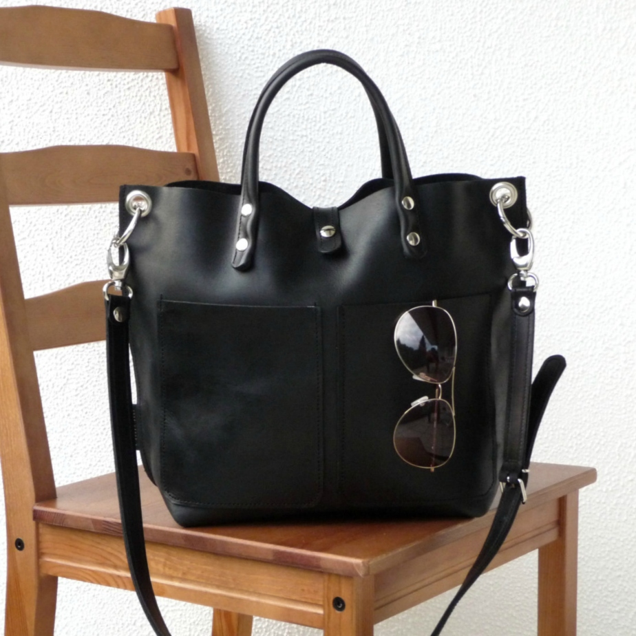 Leather Black Bag de SanumiLeatherGoods